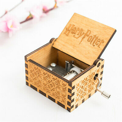 Retro Wooden Harry Potter Hand Cranked Music Box Home Crafts Ornaments Children