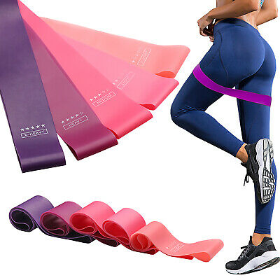 Resistance Exercise Loop Bands Set of 5 or Single Home Gym Workout  Yoga Fitness