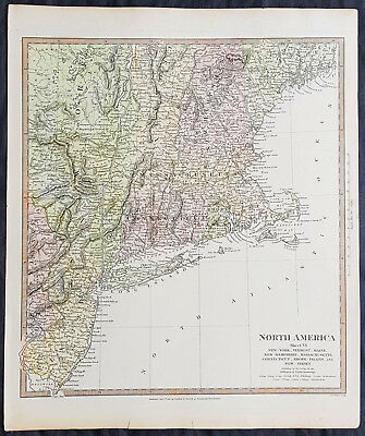 1832 SDUK Antique Map of New York, New England & New Jersey - North America