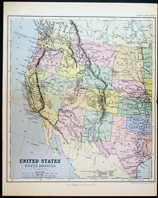 1870 Chambers 2 x Sheet Antique Map of the United States of America