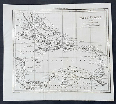1816 Walkers New Atlas Antique Map of The West Indies, Florida, Cuba, Jamaica