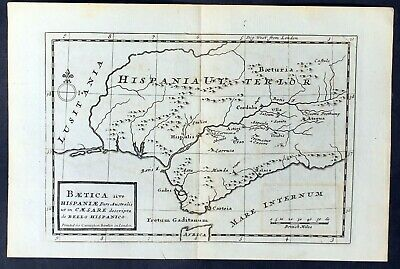 1764 Moll Antique Map of Andalusia Spain
