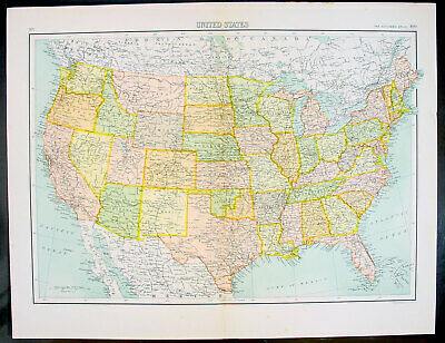 1890 Bartholomew Antique Map United States of America
