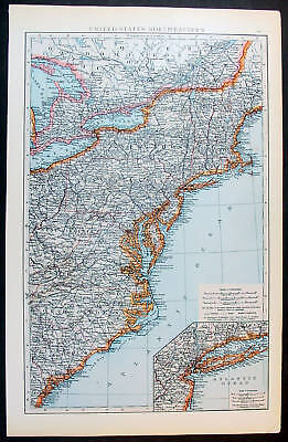 1880 Phillip Antique Map of The Eastern United States