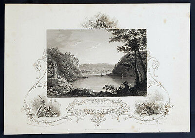 1843 J&F Tallis Antique Print View of Harpers Ferry, Virginia Pocahontas (35205)