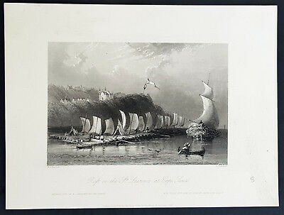 1842 William Bartlett Antique Print Rafts on St Lawrence Cap-Sante Quebec Canada