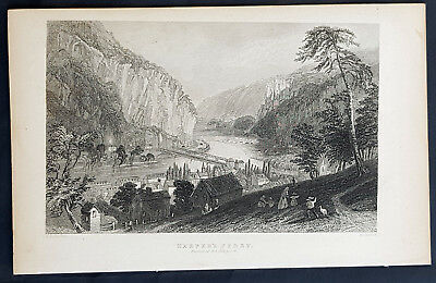 1840 William Bartlett Antique Print Harpers Ferry Potomac & Shenandoah Rivers WV