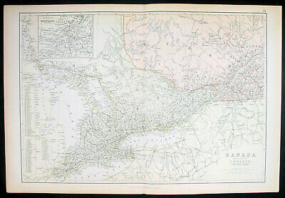 1870 John Bartholomew Large Antique Map of Ontario & Quebec, Canada