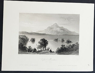 1842 Bartlett Antique Print View of Mont Orford, Eastern Township, Quebec Canada
