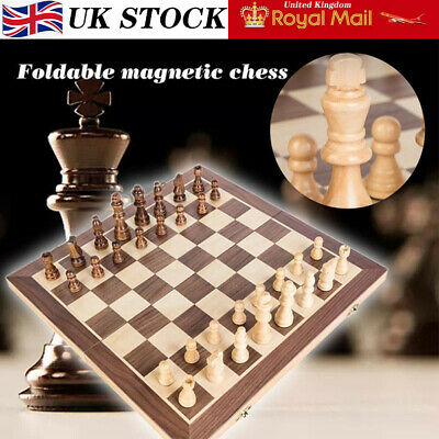 Large Chess Wooden Set Folding Chessboard Magnetic Pieces Wood Board Kids Toy N