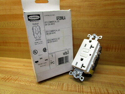Hubbell GF20WLA Receptacle White GFCI 20 Amp
