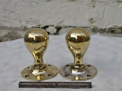 Pair (2) Antique Reclaimed Solid Bronze Or Brass Door Knob Handles With Spindle