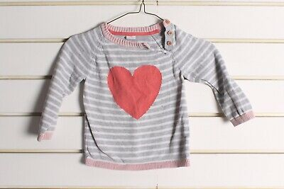 H&M Girls Youths Kids Heart Print Jumper - Grey - Size Age 1.5-2 Years (cc9)