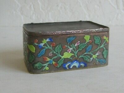 Fine Old Chinese Cloisonne Enamel Brass Trinket Stash Snuff Box w/Flowers SIGNED