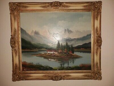 Beautiful Original Oil Painting by Rudolph Schneider Carved Wood Frame Signed