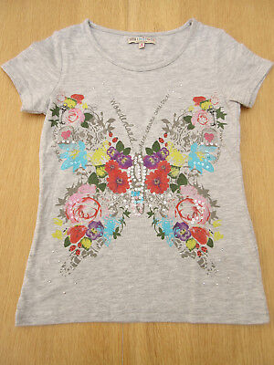 M&S Indigo - Girls Grey / Bright Colour Floral & Sequinned Top - size 8 yrs
