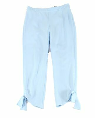 Alfani Women's Pants Blue Size 8 Stretch Tie-Cuff Cropped Pull-On $69 #209