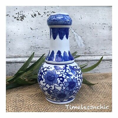 Blue AND WHITE PORCELAIN HAND PAINTED FLOWER VASE ~ Chinoiserie Chic