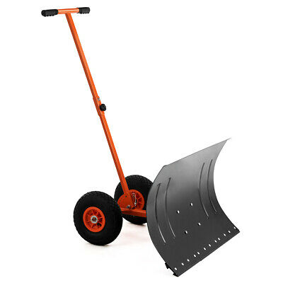 Costway Adjustable Wheeled Snow Pusher/Shovel Heavy Duty Efficient Snow Removal