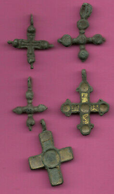 Lot of 5 Russia Bronze Ortodox Cross ca 1050 11-12th Viking Byzantine 678