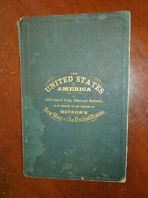 Antique 1873 Watson's New Map Of The United States Companion Booklet Guide