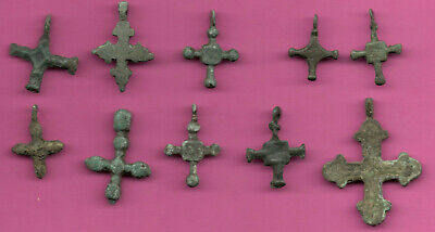 Lot of 10 Russia Bronze Ortodox Cross ca 1050 11-12th Viking Byzantine 708