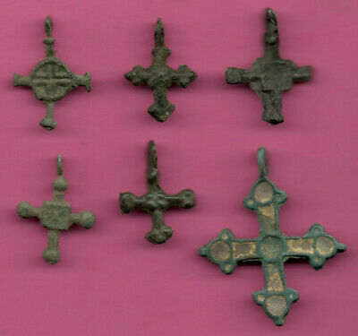 Lot of 6 Russia Bronze Ortodox Cross ca 1050 11-12th Viking Byzantine 700