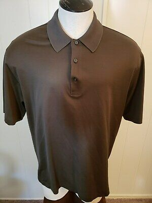 BROOKS BROTHERS Men's Country Club Brown Polo Shirt Size Large Performance Knit