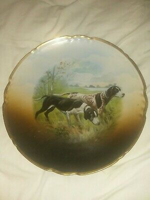 """Antique  German Shorthaired Pointer Made in Germany Hunting dogs 12"""" plate"""