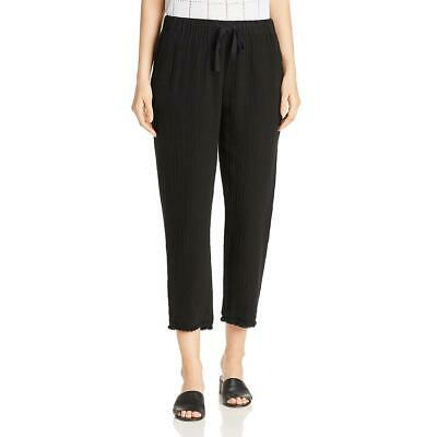 Eileen Fisher Womens Black Organic Cotton Pull On Cropped Pants L BHFO 8589