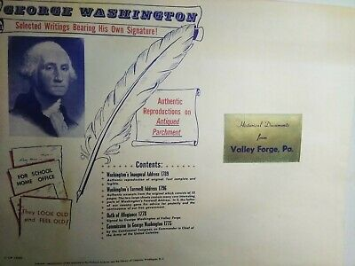 Historical Documents George Washington Authentic Reproductions Valley Forge PA