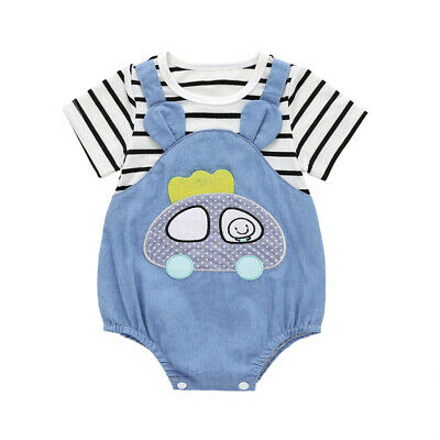 Newborn Baby Bodysuit Cotton Stripe Romper Infant Boy Jumpsuit Clothes Outfit