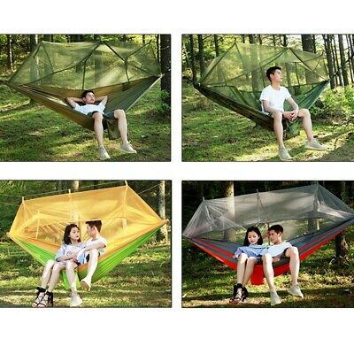 Camouflage Double Hammock with Mosquito Net Portable Outdoor Camping Hanging Bed