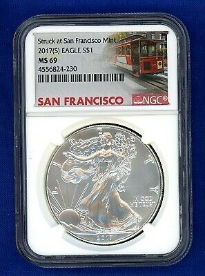 2017 S NGC MS69 ASE American Silver Eagle $1 US Mint 2017-S MS-69 Trolley Label
