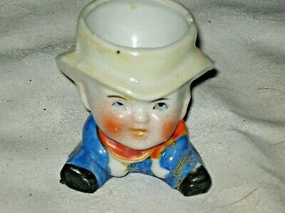 A Vintage 1930's Japanese Novelty Ceramic Handpainted Man In Hat Figural Egg Cup