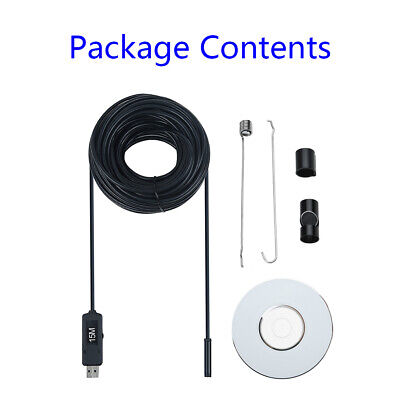 15m/50 Pipe Inspection Camera Endoscope Sewer Drain Cleaner Waterproof