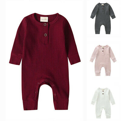 Newborn Baby Girl Boy Spring Warm Clothes Set Knitted Romper Jumpsuit Outfits AU