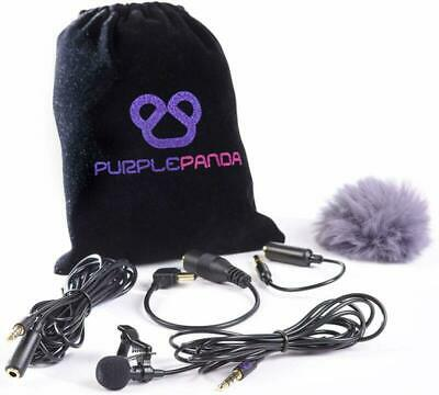 Purple Panda Lavalier Lapel Microphone Kit - Clip-on Omnidirectional Condense...