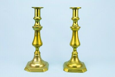 19C Brass Candlesticks Large Tall Heavy Gold Colour Antique Victorian Vintage