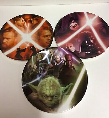 Star Wars Collectors Plates X3 Jedi Knights 2005 Lucas Film VGC Limited Edition