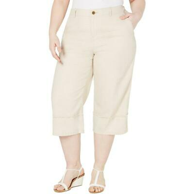 Style & Co. Womens Mid Rise Wide Leg Linen Cropped Pants Plus BHFO 3118