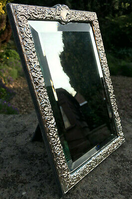 Solid Sterling Silver Frame Dressing Table Standing Mirror Hallmarked 1998