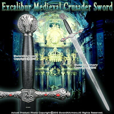 """41"""" Excalibur Medieval Crusader Knight Hand And A Half Arming Sword w/Red Jewery"""