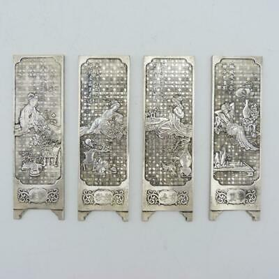 Set Of Four Antique Chinese Zu Yin Silver Scroll Weights In The Form Of A Screen