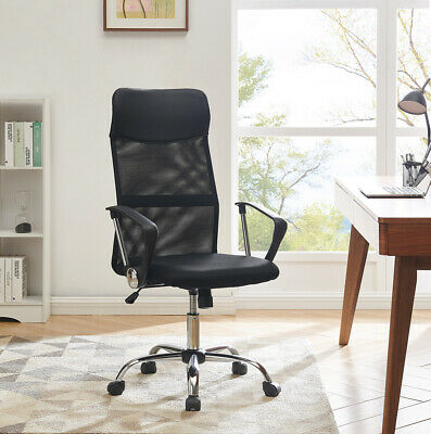 Black Mesh Office Chair PU Leather Fabric Home Office Swivel Chair High Back New