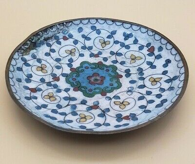 Vintage Antique Cloisonne Metal Enamel Trinket Bowl Pin Change Jewelry Dish