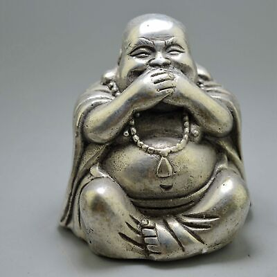 Ancient China Buddhism Collection Old Miao Silver Carve Humor Buddha Pray Statue