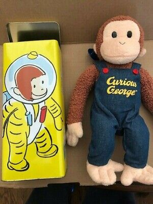 Curious George Astronaut Empty Tin 1998 and Applausause Plush
