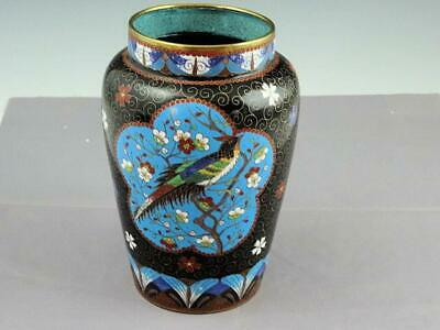 Antique 19th Century Chinese Export Cloisonne Vase With Beautiful Exotic Bird