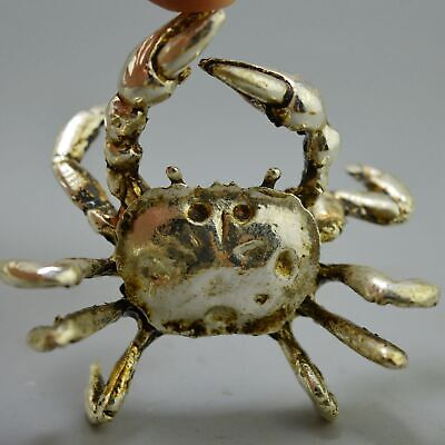 Collectable Handwork Decor Old Miao Silver Carve Climb Crab Sea Lovely Statue